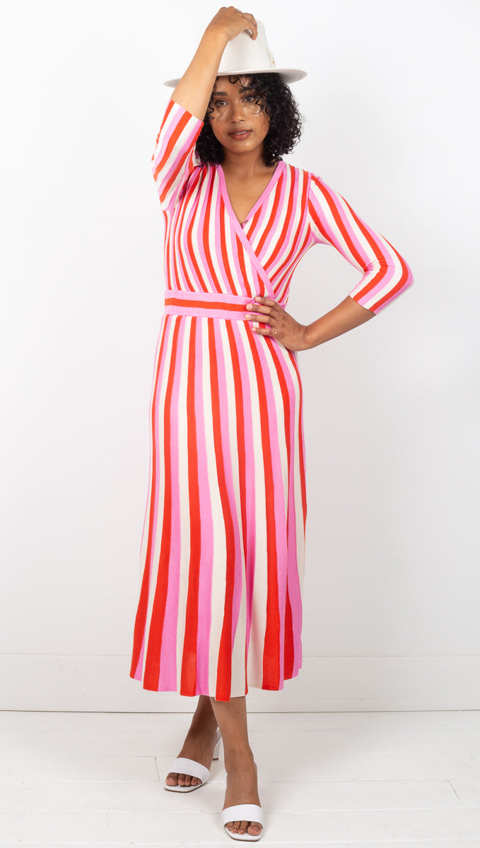 Echo Midi Dress - Pink Orange White Multi