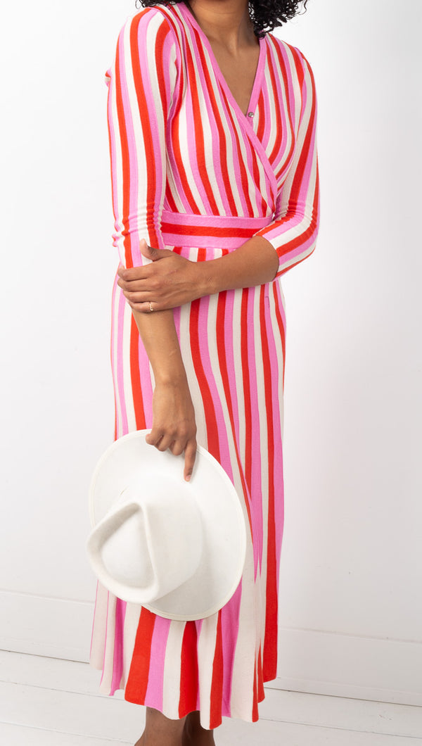 Foxiedox Pink and Red Striped A-line Midi Dress