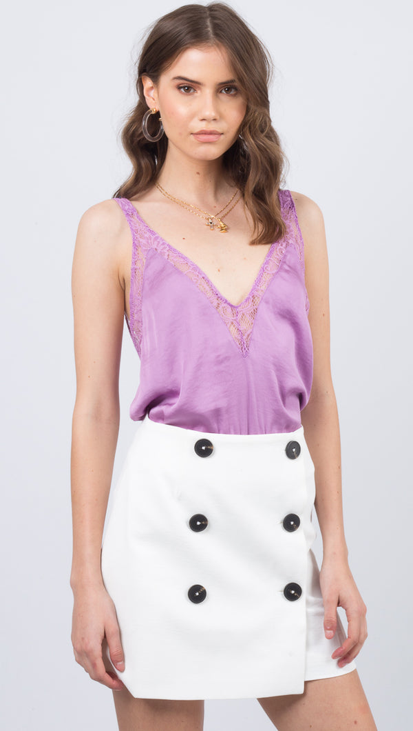 Free People Purple Silky V-Neck Tank With Lace Trim