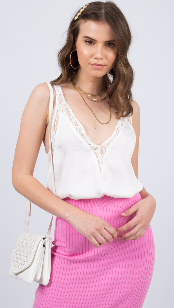 Free People White Silky V-Neck Tank With Lace Trim