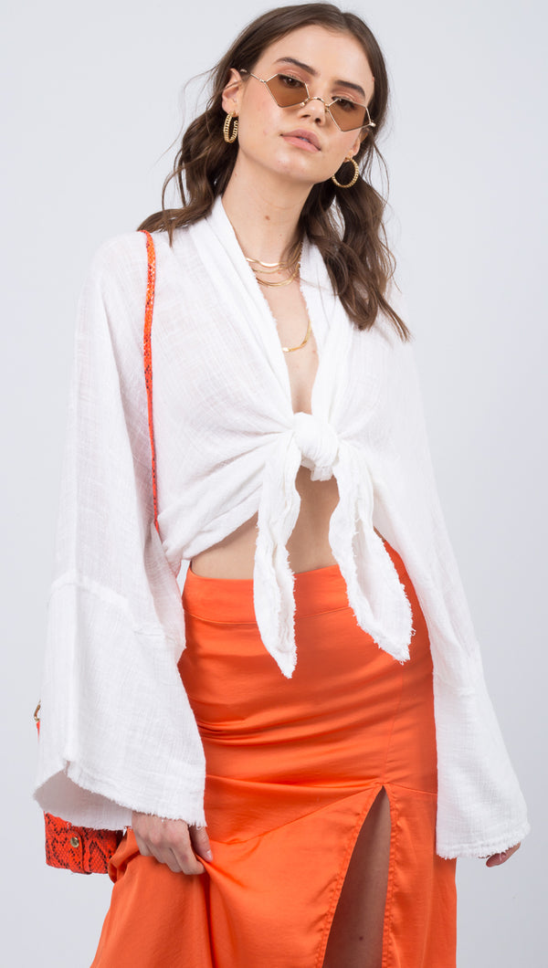 Free People White Kimono With Dolman Sleeves