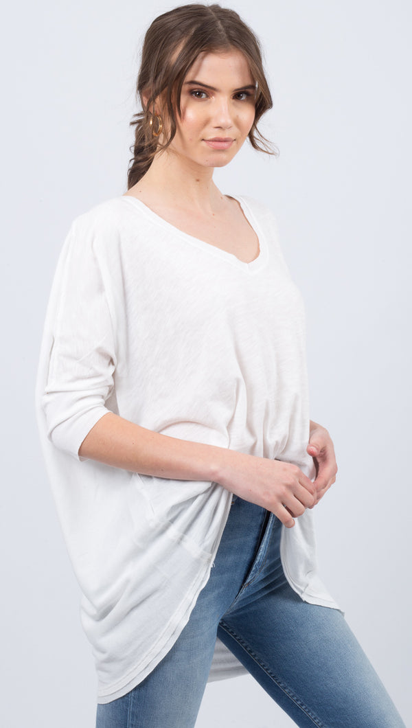 Free People White V-Neck Tee With High Low Hemline