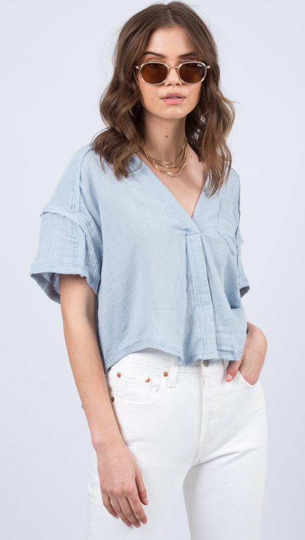 Free People Blue V-Neck Short Sleeve Blouse