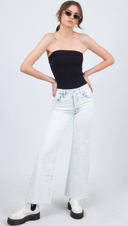Free People Light Wash Denim High Rise Flare Jeans