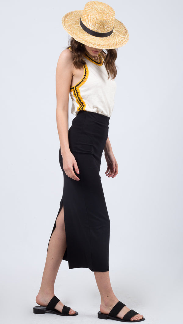 Free People Black Stretch Midi Skirt