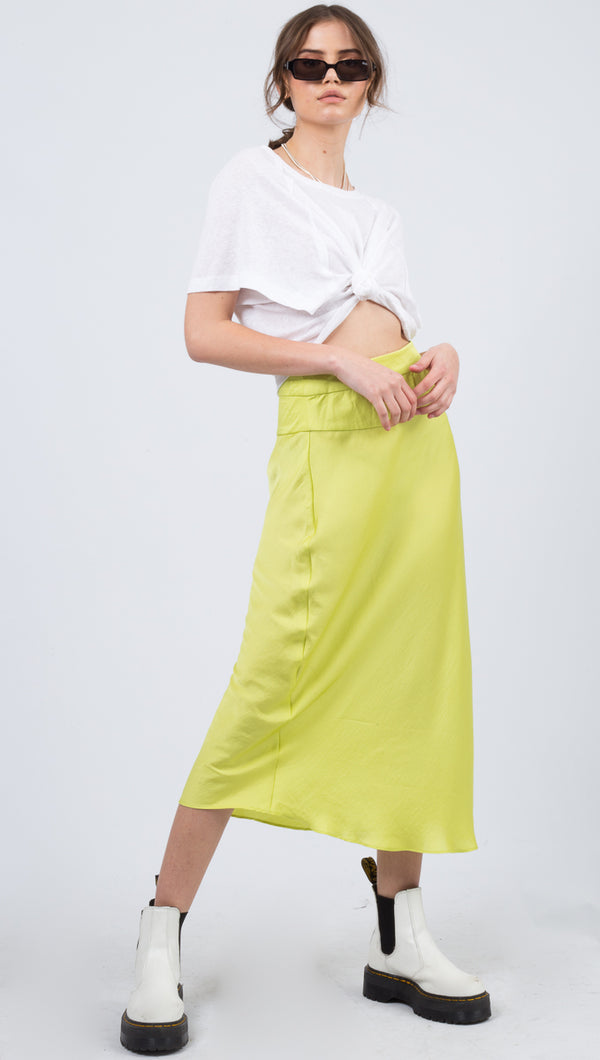 Free People Green Midi Skirt
