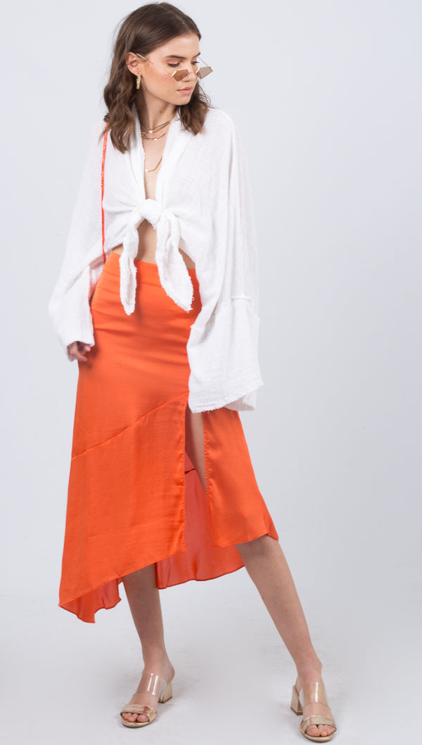 Free People Orange Midi Skirt With Slit