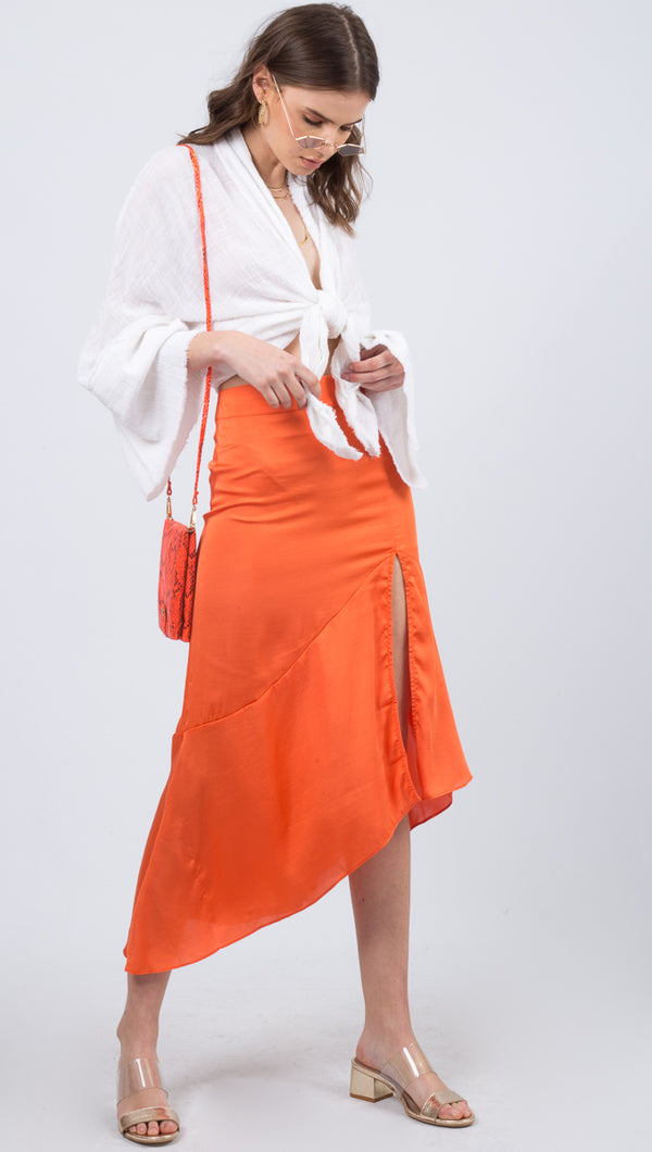 Lola Slit Skirt - Hot Orange