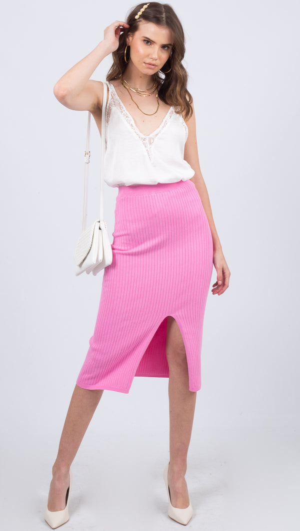 Free People Pink Ribbed Midi Skirt With Slit