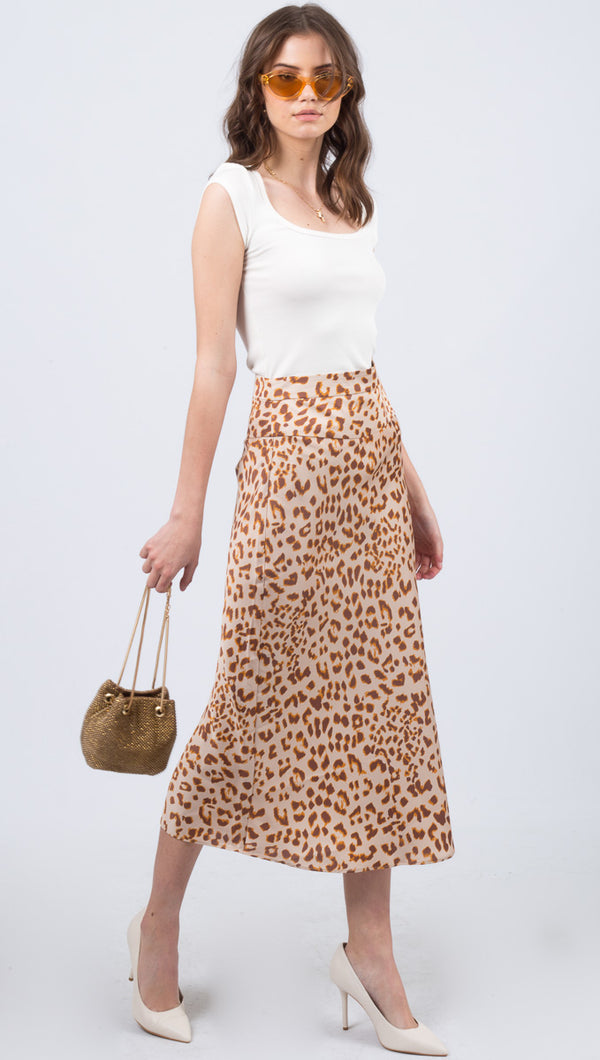 Free People Cheetah Print Midi Skirt