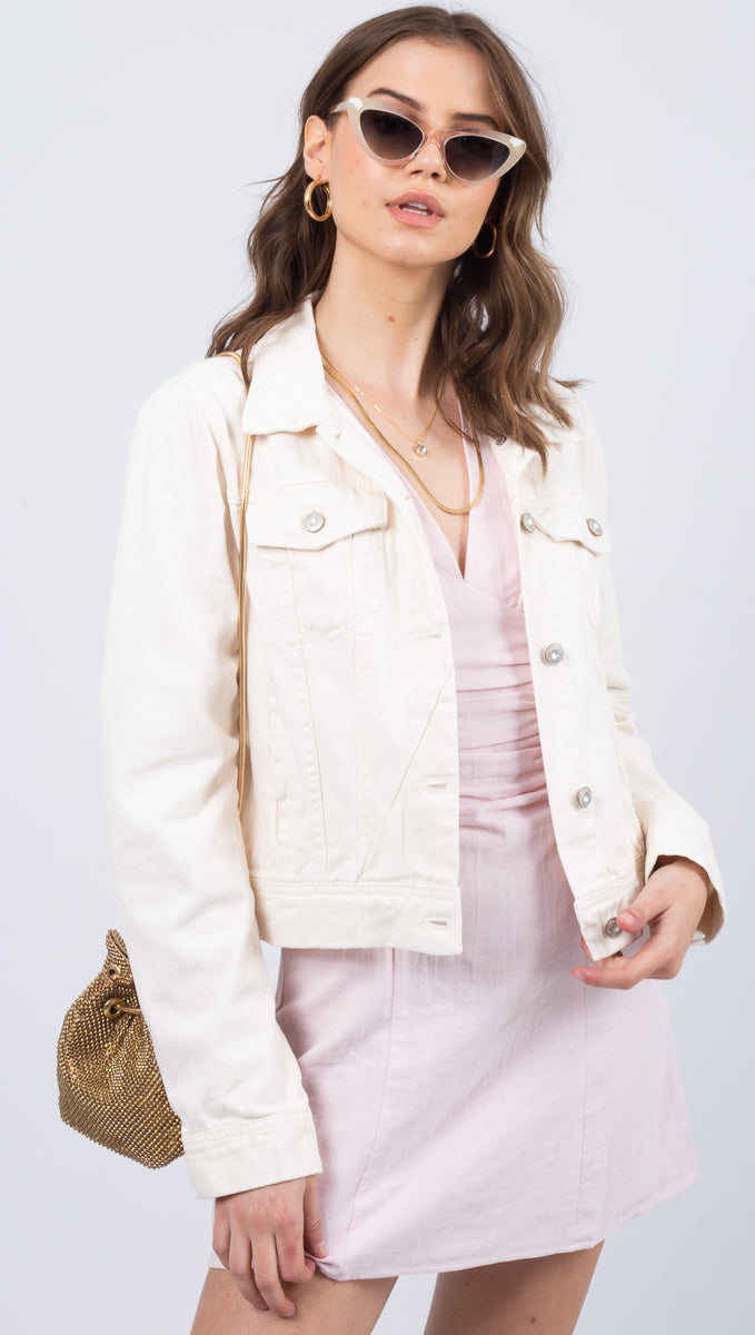 Free People White Denim Jacket