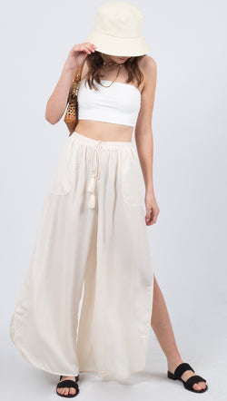 Free People Cream Wide leg Pant With Side Slits