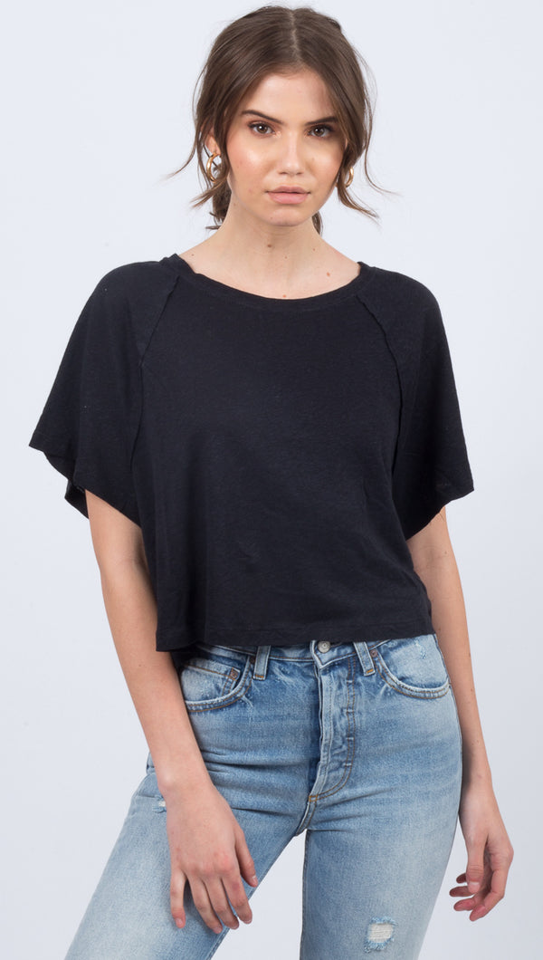 Free People Black Raglan Sleeve Tee