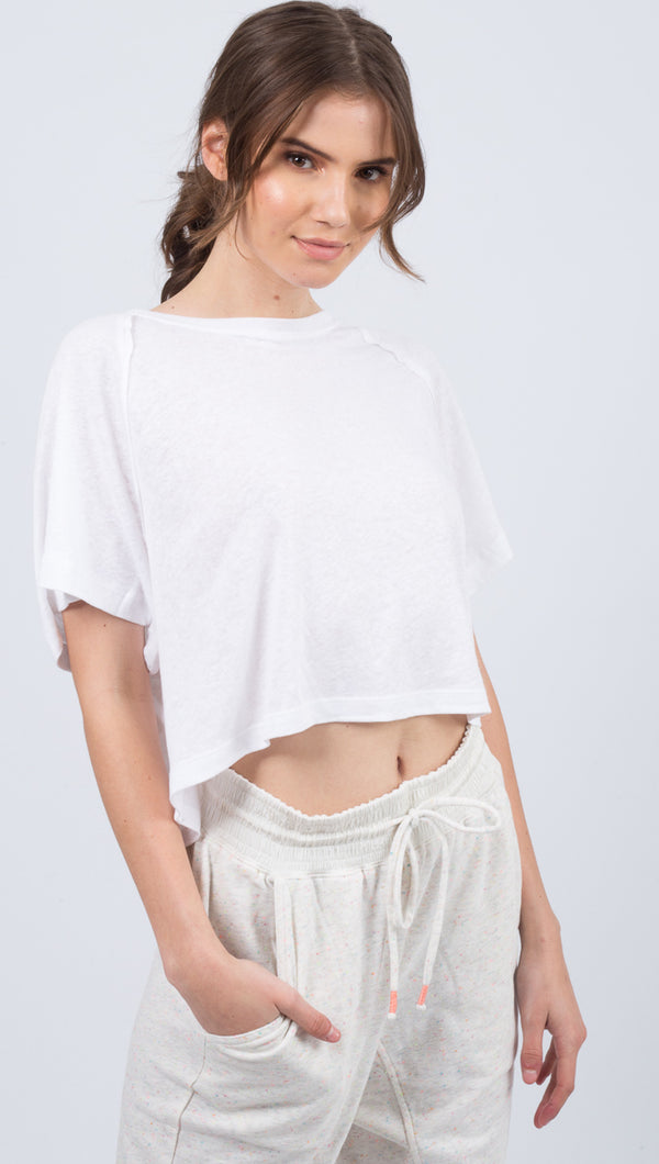 Free People White Raglan Sleeve Tee
