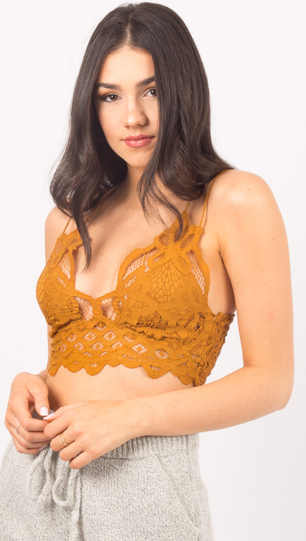 Free People Gold Lace Bralette
