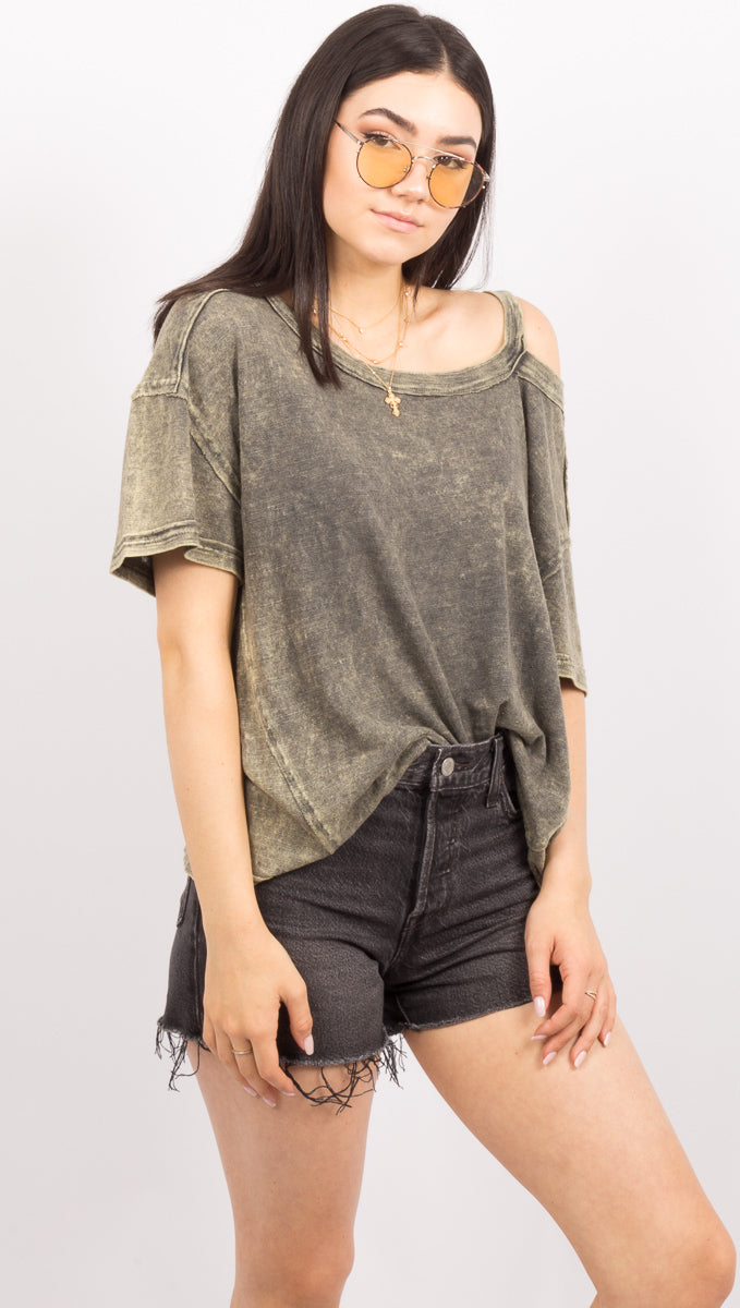 Army Green Cutout Tee