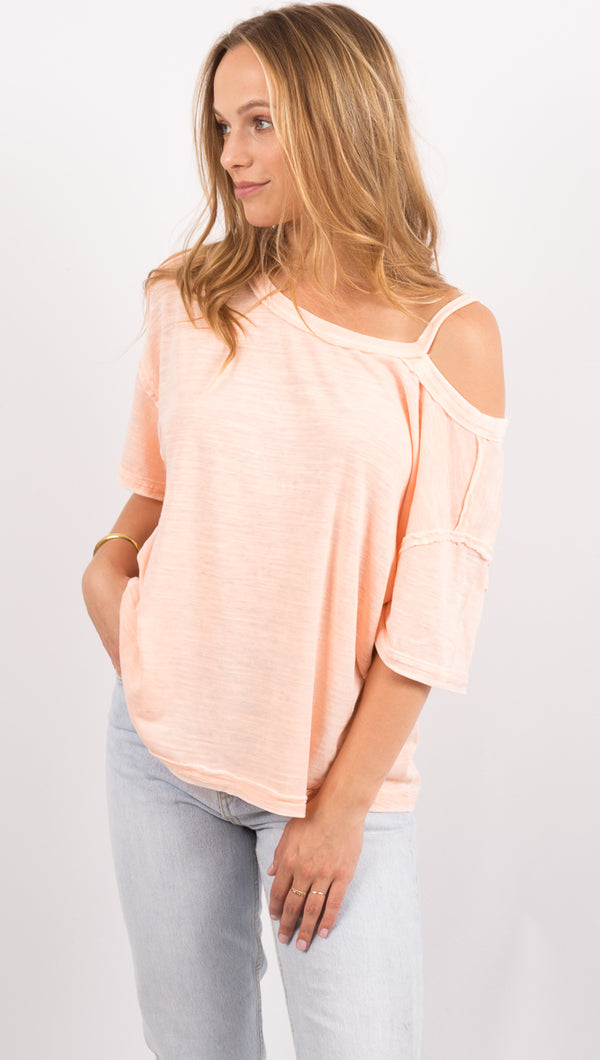 Pink Shoulder Cutout Tee