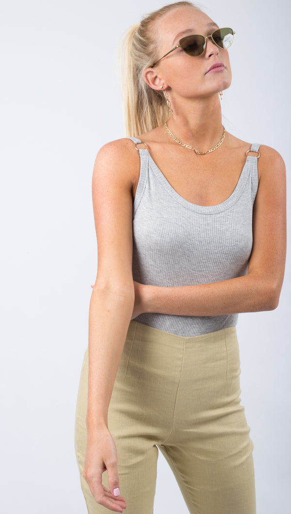 Free People Grey Ribbed Tank Bodysuit With Metal Ring Details