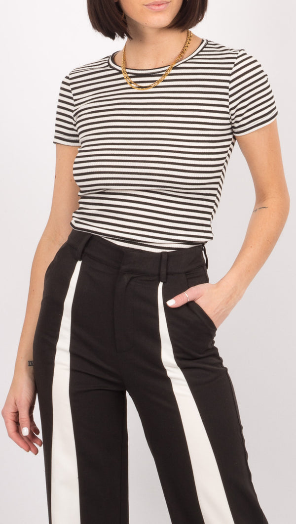 Free People Black/White Stripe Ribbed Tee