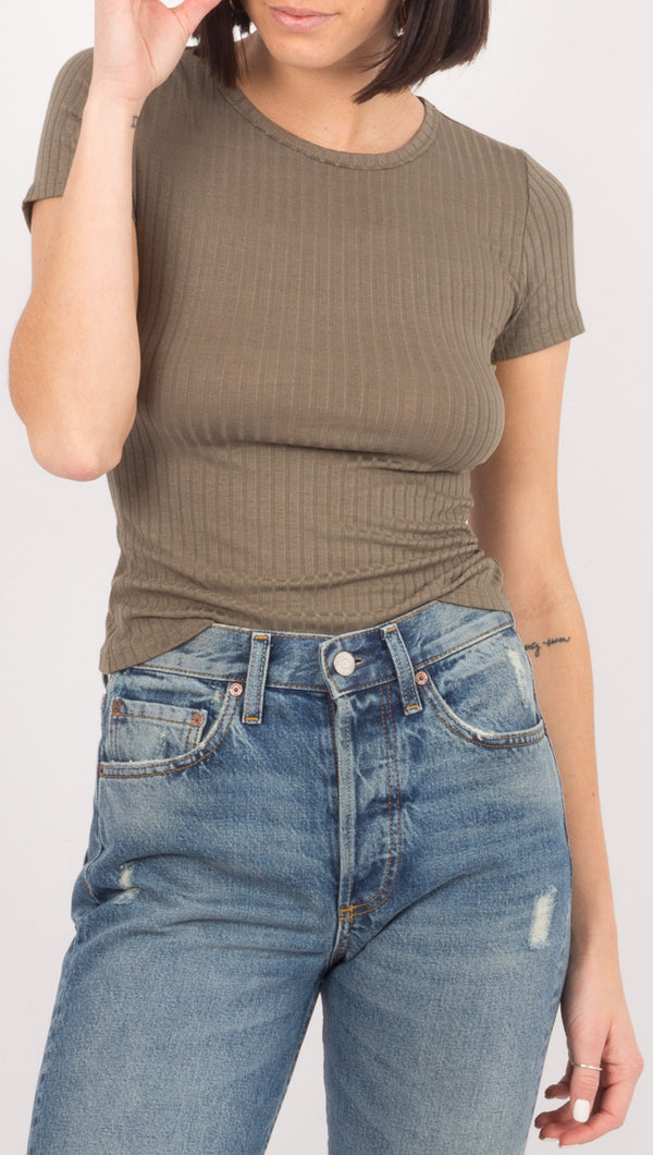 Free People Olive Green Ribbed Tee