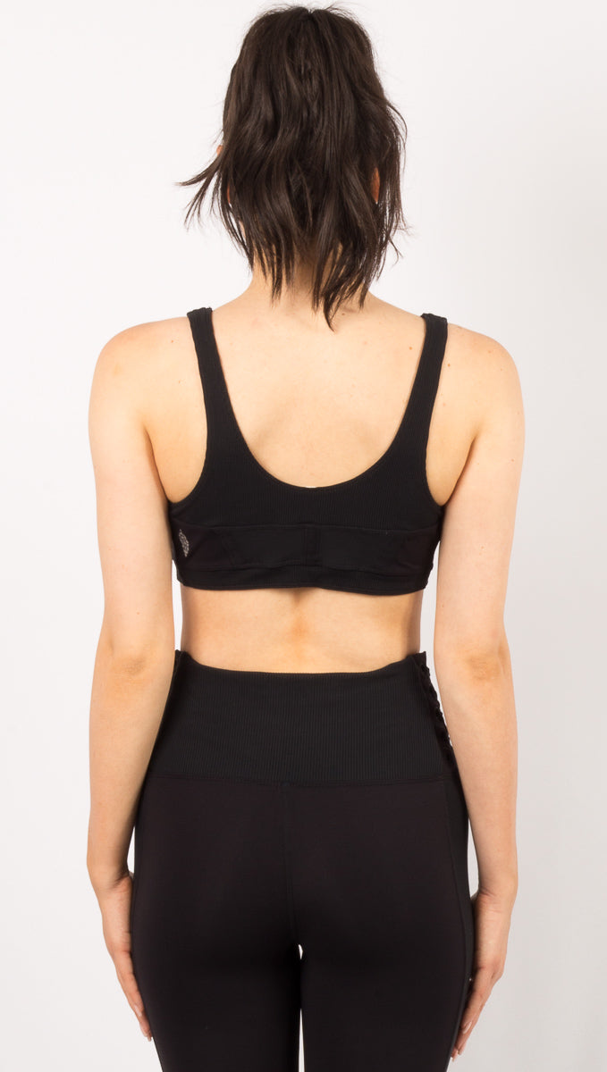 Before You Go Lace Up Bra - Black