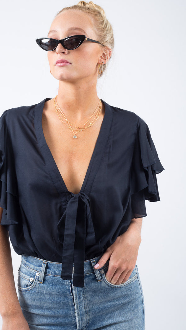 Free People Black Ruffled Sleeve Plunging Neckline Bodysuit
