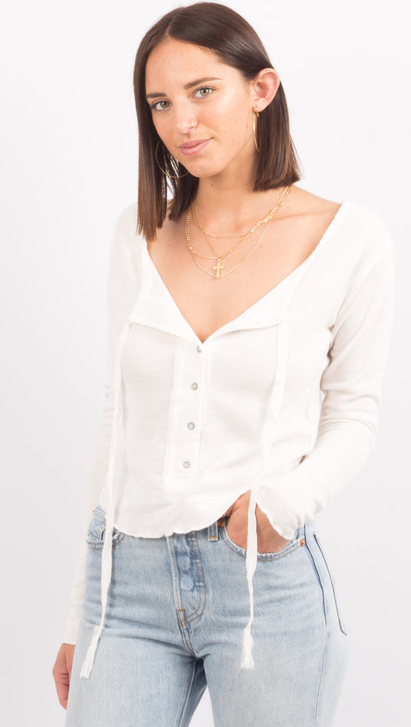 Free People Ivory Long Sleeve Top