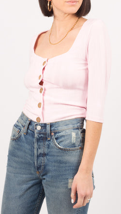 Free People Pink Button Down Cardigan