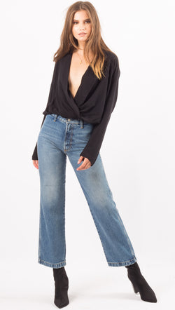 Free People Black Plunging Neckline Bodysuit
