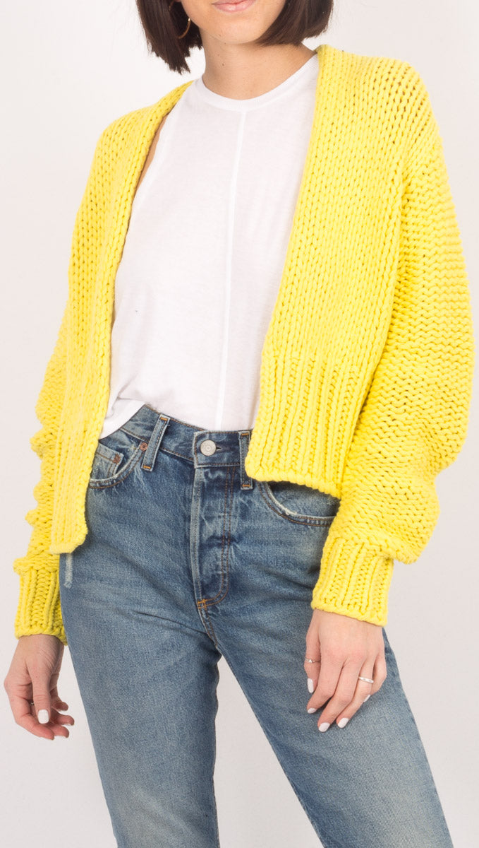 Free People Bright Yellow Cardigan Sweater