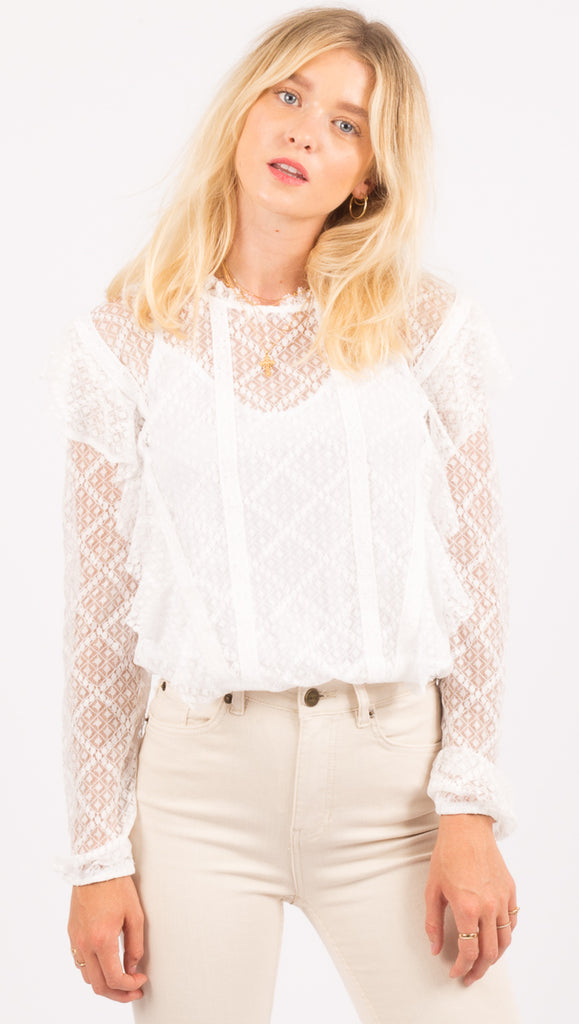 Free People White Lace Bodysuit