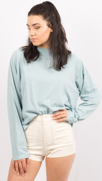 Free People Light Blue Long Sleeve Tee