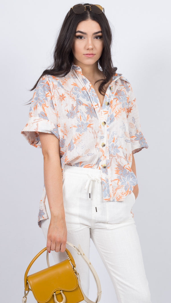Love Letters Button Down - Ivory Combo