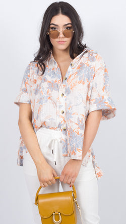 Free People Hawaiian Floral Print Button Down Blouse
