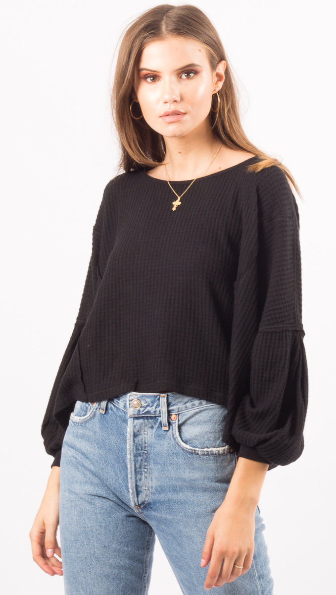 Free People Black Open Back Top