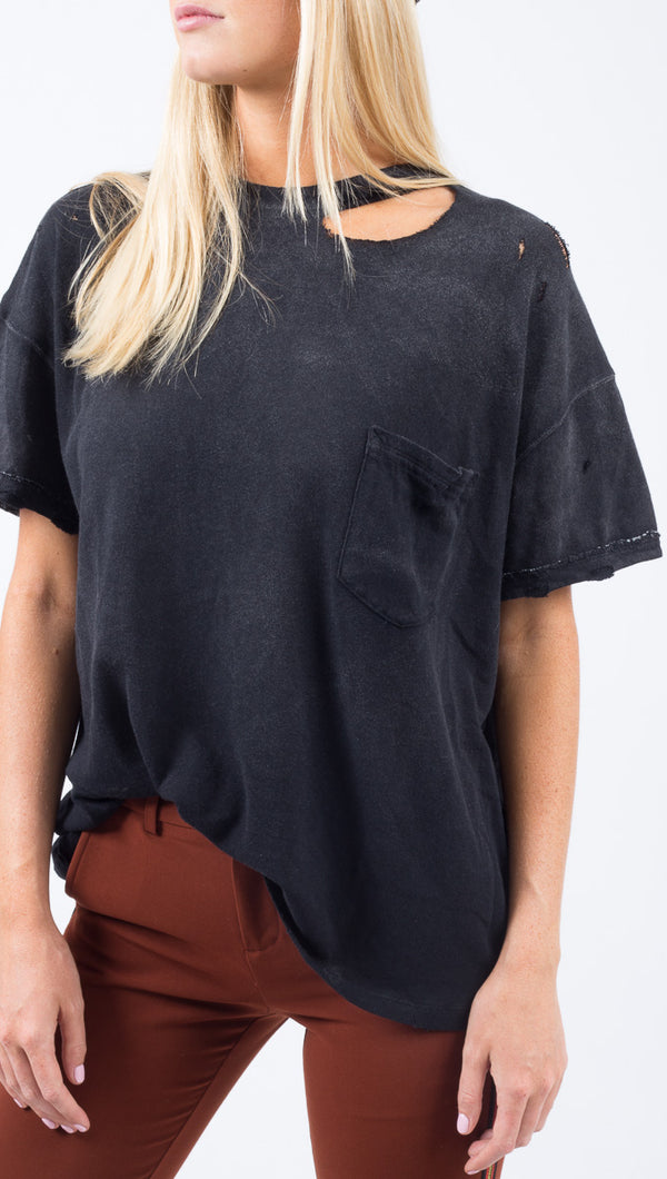 Free People Black Distressed Tee