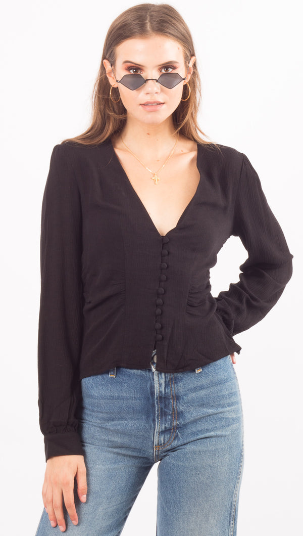 Free People Black Button Down Blouse