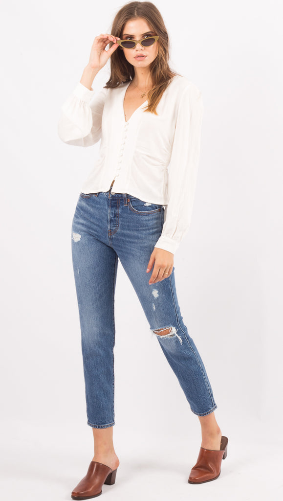 Free People Ivory Button Down Blouse