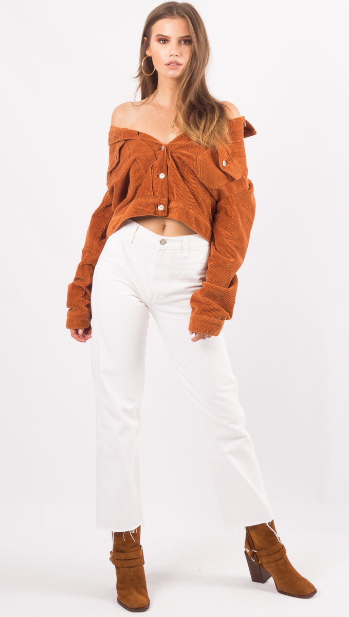 Free People Terracotta Corduroy Jacket