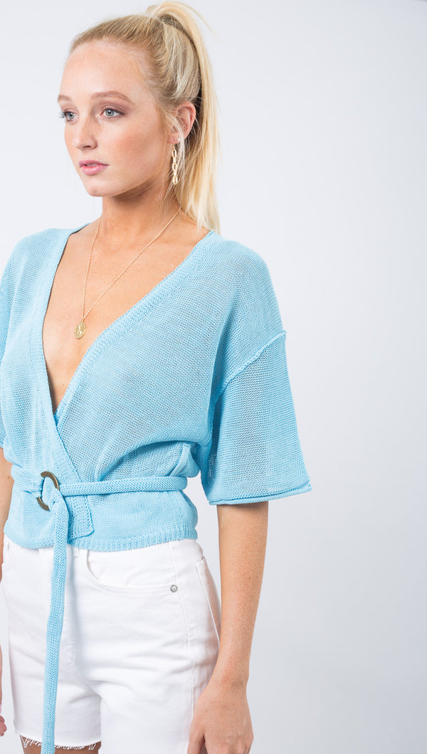 Free People Blue Knit Tie Front Blouse With Belt