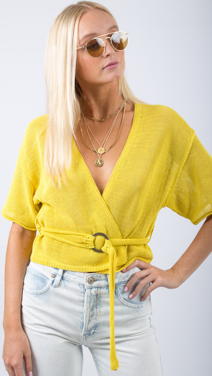 Free People Yellow Knit Tie Front Blouse With Belt