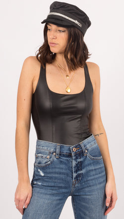 Free People Black Leather/Mesh Bodysuit