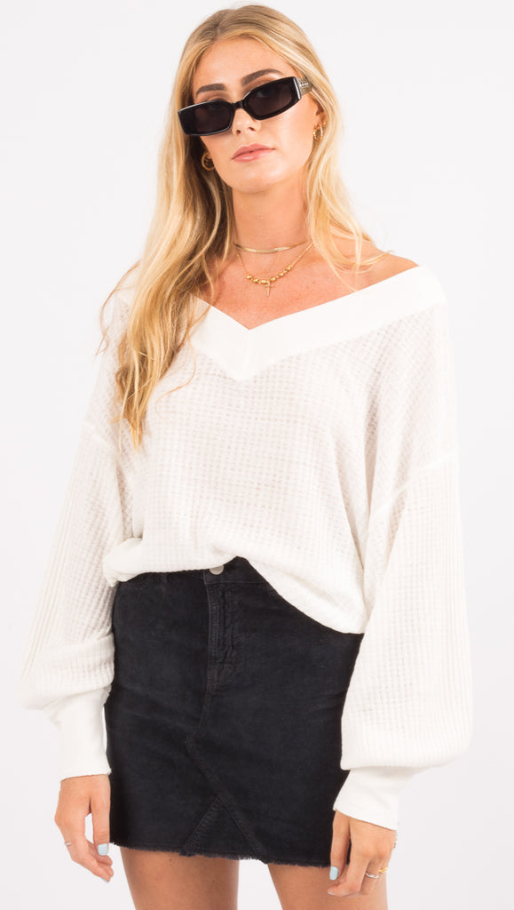 Free People White V Neck Long Sleeve Shirt
