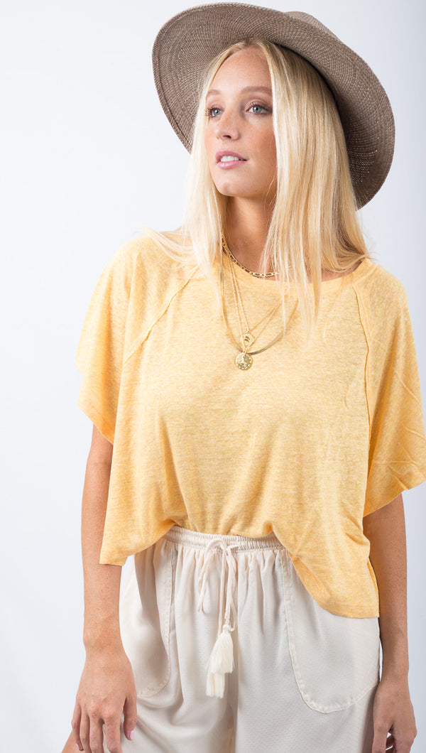 Free People Orange Relaxed Fit Tee