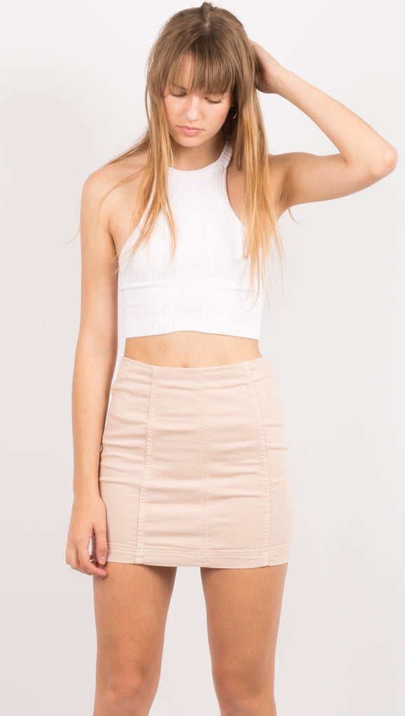Light Pink High Waist Mini Skirt