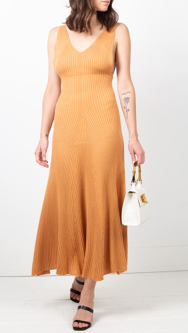 Free People Copper Knit Midi Dress