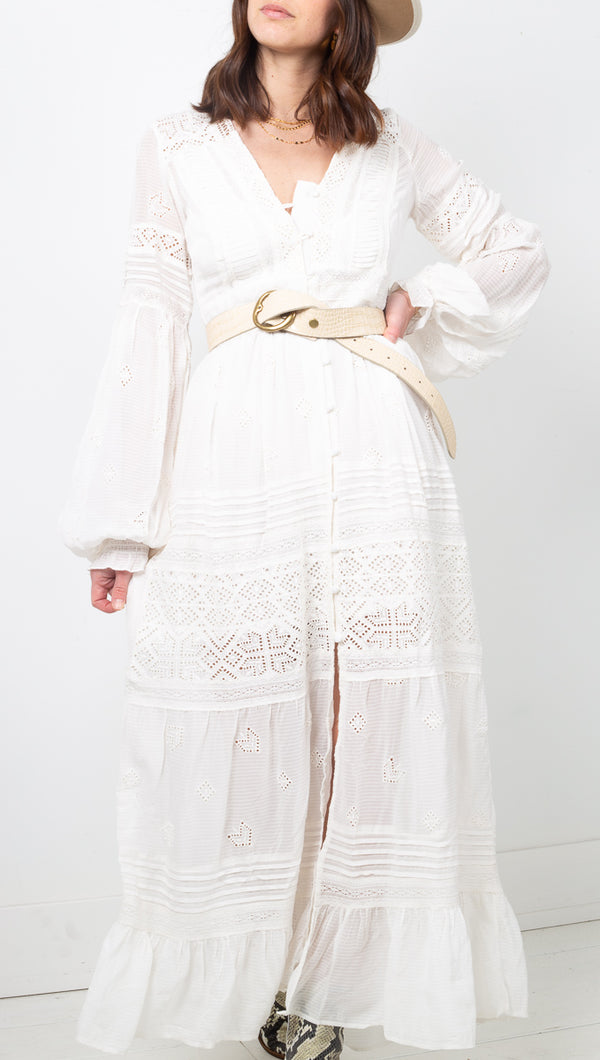 Free People Boho Ivory Midi Dress with Front Buttons and Lace Details