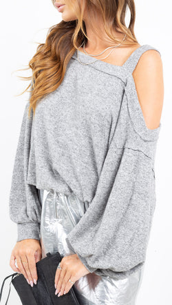 Free People grey oversized off the shoulder top