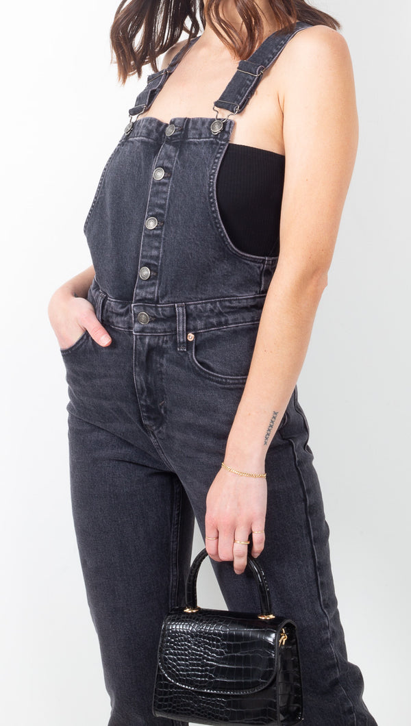 Free People Washed Black Denim Overalls with Skinny Legs