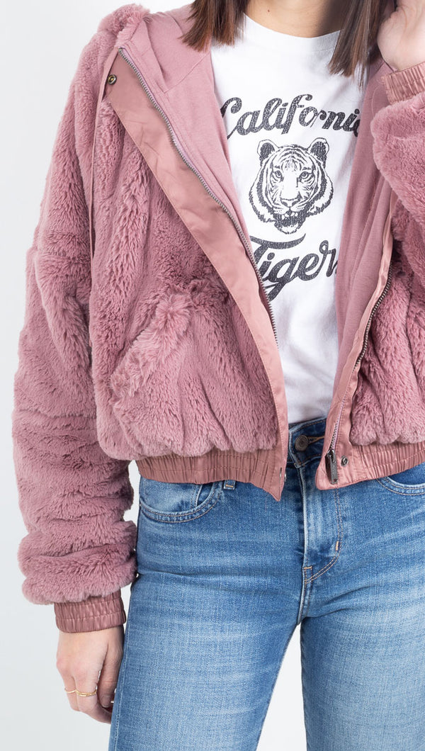 Free People pink soft faux fur cropped hoodie